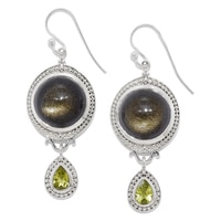 Himalayan Gems Sterling Silver Golden Obsidian & Peridot Earrings