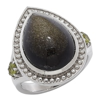 Himalayan Gems Sterling Silver Gemstone Ring - Golden Obsidian & Peridot