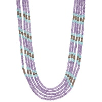 Himalayan Gems Sterling Silver Multi Gemstone Necklace - Amethyst, Apatite & Smoky Quartz