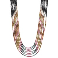 Himalayan Gems Sterling Silver Multi Gemstone Necklace - Multi Coloured Tourmaline