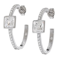 TYCOON for Diamonelle Sterling Silver Platinum Plating Bezel Set Half Hoop Earrings