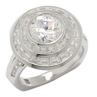 Bague ronde Tycoon de Diamonelle en argent sterling à similidiamants en baguette