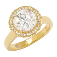 TYCOON for Diamonelle Sterling Silver Yellow Gold Plated Round Halo Ring