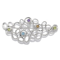 Hagit Designs Sterling Silver Multi Gemstone Brooch