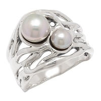 Hagit Sterling Silver Double Pearl Ring