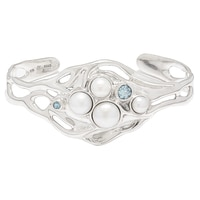 Hagit Sterling Silver Blue topaz & Pearl Cuff Bangle