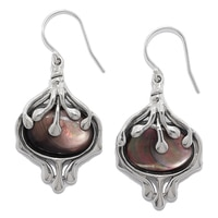 Hagit Sterling Silver Black Mother of Pearl Drop Earrings