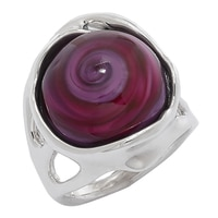 Hagit Sterling Silver Mixed Colour Glass Bead Ring