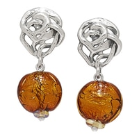 Hagit Sterling Silver Golden Glass Bead Earrings