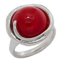 Hagit Designs Sterling Silver Red Glass Bead Ring