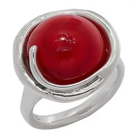 Bague en argent sterling ornée d'une perle en verre rouge de Hagit