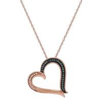 Pendentif en forme de cœur orné de diamants sur or rose 10 ct (vendu avec sa chaîne)