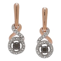 Pendants d'oreille diamantés en or rose 10 ct