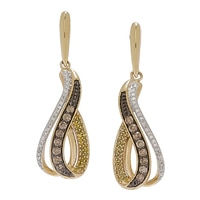 Pendants d'oreille diamantés en or jaune 10 ct