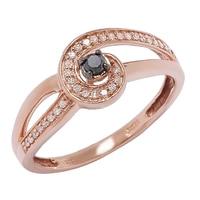 Bague ornée de diamants sur or rose 10 ct