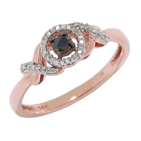 Bague diamantée en or rose 10 ct