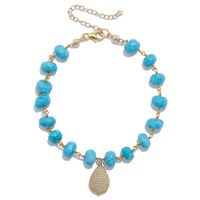 Lucy Malika for Diamonelle Turquoise Beads Sterling Silver Bracelet