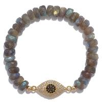 Lucy Malika for Diamonelle Labradorite Beads Sterling Silver Evil Eye Bracelet