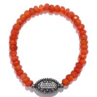 Lucy Malika for Diamonelle Carnelian Beads Sterling Silver Stretch Bracelet