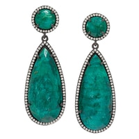 Lucy Malika for Diamonelle Emerald Quartz Sterling Silver Drop Earrings