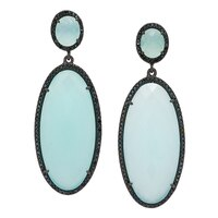 Lucy Malika for Diamonelle Peru Chalcedony Sterling Silver Drop Earrings