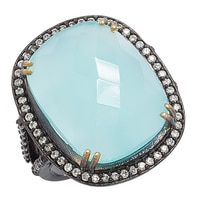 Lucy Malika for Diamonelle Peru Chalcedony Sterling Silver Ring