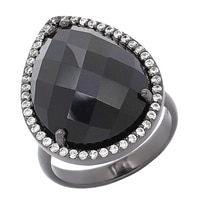 Lucy Malika for Diamonelle Sterling Silver Onyx and Diamonelle Ring