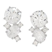 Caroline Creba for Diamonelle Sterling Silver Brilliant Drop Cluster Earrings