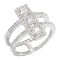 Caroline Creba for Diamonelle Sterling Silver Rhodium Plate Fancy Triple Cluster Dress Ring