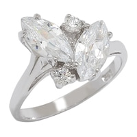 Caroline Creba for Diamonelle Sterling Silver Rhodium Plate Fancy Marquise Cluster Ring