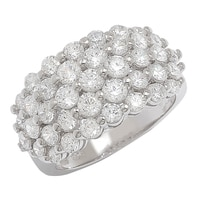 Caroline Creba Diamonelle Sterling Silver Rhodium Plate Fancy Graduated Five-Row Cluster Ring