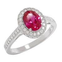 Diamonelle Sterling Silver Rhodium Plate Oval Halo Ring