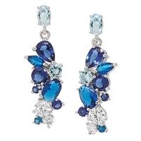 Pendants d'oreille en argent sterling ornés de pierres simulées au choix et de similidiamants Diamonelle® regroupés