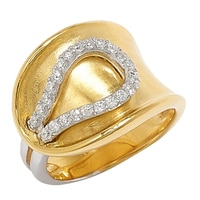 Diamonelle Sterling Silver Two-Tone Concave Ring