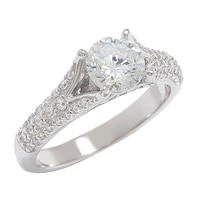 Diamonelle Sterling Silver Rhodium Plate Solitaire Ring