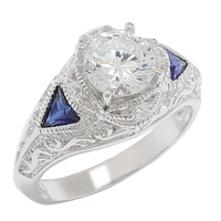 Diamonelle Sterling Silver Rhodium Plate Simulated Sapphire Vintage Ring