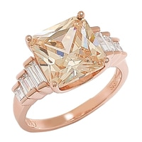 Diamonelle Sterling Silver Rose Gold Plate Princess Cut Ring