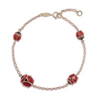 10K Yellow Gold 4 Station Ladybug Bracelet