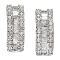10K White Gold 0.42 ctw Diamond Baguette Earrings