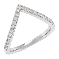 10K White Gold 0.20 ctw Diamond Chevron Ring