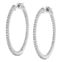 10K White Gold 1.00 ctw Diamond Hoop Earrings