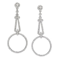 10K White Gold Diamond Chandelier Earrings