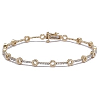 14K Gold Diamond Circle Link Bracelet