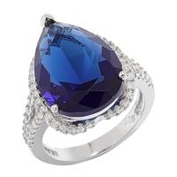 Bague Red Carpet en argent sterling sertie d'un saphir simulé bleu et pavée de similidiamants Diamonelle®