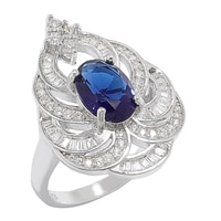 Red Carpet Diamonelle Sterling Silver Simulated Blue Sapphire Ring