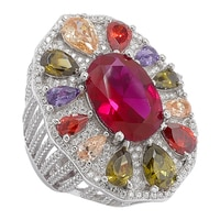 Bague Red Carpet for Diamonelle en argent sterling à similidiamants Diamonelle multicolores