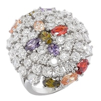 Red Carpet Diamonelle Sterling Silver Multi-Colour Ring