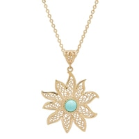 Jewellery of The Grand Bazaar Turquoise Sun Pendant & Chain