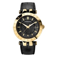 Versace 42mm Stainless Steel Black Dial Black Strap Watch