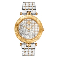 Versace Rose Gold Case Silver Dial Two-Tone Quilt Bracelet